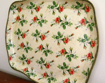 Chintz Paper Mache Tray with Red Rose Buds Roses Large