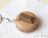 Clay Sweets Macaron Keychain - Macaron Phone Charm Bag Charm - Chocolate Macaron - Wedding Favors