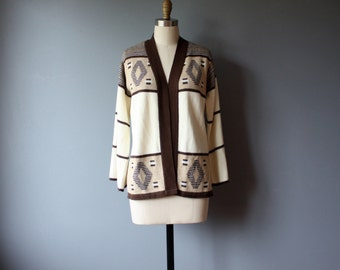 70s knit cardigan, neutral tribal print boho sweater