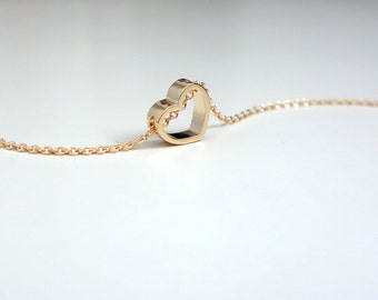 Open Heart Necklace / Tiny Gold Heart Necklace / Heart Pendant Necklace