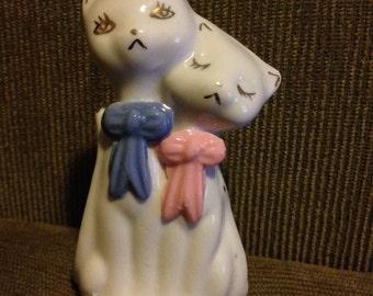 Ceramic CATS mini heart vase & figurines