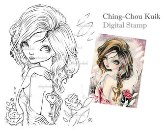 Key To My Heart- Digital Stamp Instant Download / LOVE Key Rose Valentine Fairy Girl by Ching-Chou Kuik