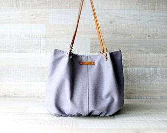 Tote Bag, Large Purse, Diaper Bag, Stone Grey, Silver Grey, Hanbag, Bag, Genuine Leather Handles, Large Bag, Oversize Bag, Everyday Tote
