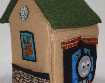 Train Inspired carrier and storage tote, trains,toy organizer, small toys storage,trains, railroads,train station
