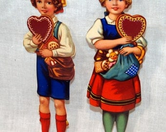 Vintage Hansel and Gretel Embossed Paper Diecut Figurines - Made in England - 5 Sets
