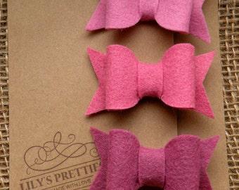 Felt Hair Bows - Pinks