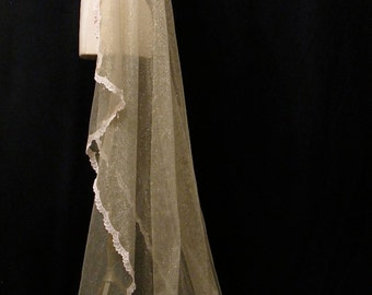 Pale Gold Chapel Length Veil With Blush Lace And Crystals - One Of A Kind