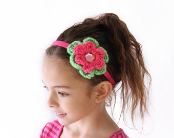Hot Pink and Lime Green Headband Toddler Headband Girls Headband Crochet Flower Headband Hot Pink Flower Lime Green Flower Hot Pink Headband