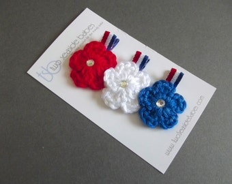 Red White Blue Hair Clips Fourth of July Hair Clips Crochet Flower Hair Clips Red Hair Clips White Hair Clips Patriotic Hair Clips Military