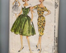 1950s Vintage Sewing Pattern McCalls 5039 Misses Dress with Slim or Full Skirt and Wide Scoop Neck Collar Size 14 Bust 34 1959 50s