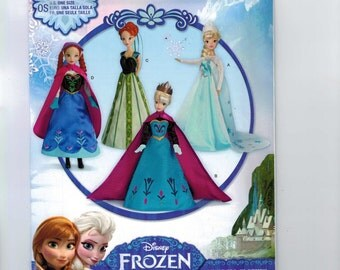 Doll Sewing Pattern Simplicity S0734 Frozen Elsa Anna Disney Princess 11 1/2 Inch Barbie Doll Fashion Size UNCUT