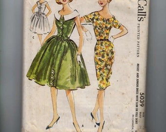 1950s Vintage Sewing Pattern McCalls 5039 Misses Dress with Slim or Full Skirt and Wide Scoop Neck Collar Size 14 Bust 34 1959 50s  99