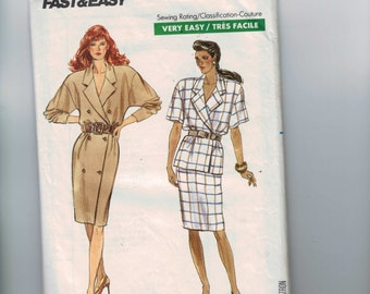 1980s Misses Sewing Pattern Butterick 6193 Misses Coat Dress Top and Skirt Size 6 8 10 Bust 30 1/2 31 1/2 32 1/2 80s 1986