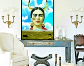 Frida Kahlo Art Watercolor Photomontage Print Quote Original Signed Mixed Media Collage Mexican Indian Indigenous Aqua Blue Red Yellow Black