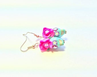 Light Turquoise and Bright Pink Day of the Dead Roses and Sugar Skull Earrings