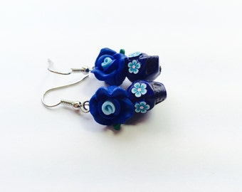 Royal Blue Day of the Dead Roses and Sugar Skull Earrings