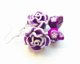 Sugar Skull Earrings Purple Day of the Dead Jewelry
