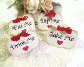 Alice Buffet Tent Cards - Set of 8 - Eat Me Drink Me Take Me - Choose Ribbon Color - Mad Tea Party Unbirthday Shower Buffet Labels