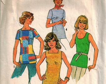 Vintage 70's Sewing Pattern, Misses' Tops, Size 8