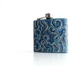 Black and Blue Flask hand painted flask Hip Flask Stainless steel flask