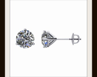 Diamond Stud Earrings in 14k Gold, Martini 3 Prong Cocktail Settings, Screw Back, G-H Color SI2-3 Clarity