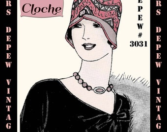 Vintage Sewing Pattern 1920's Spring Cloche Hat Depew 3031 Digital Print at Home E-book -INSTANT DOWNLOAD-