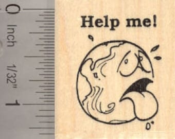 Help me Earth Rubber Stamp D13206 Wood Mounted