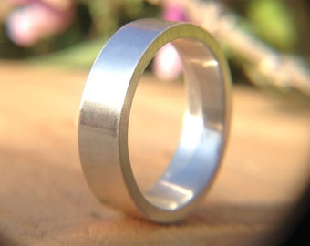 6mm Mens Brushed Wedding Band, Recycled Argentium Silver Ring, Simple Comfort Fit Wedding Band, 2mm Thickness Made to Your Size