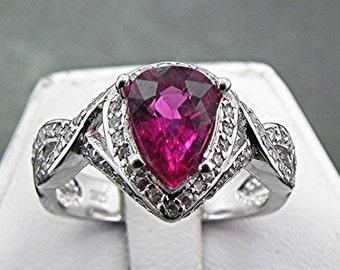AAAA Natural Pear shape Rubellite Tourmaline 1.55 Carat in 14K white gold diamond ring (.50 carats) 1030