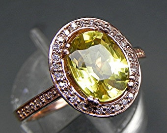 AAA NATURAL Yellow sapphire 2.59 carats 9x7mm in a 14k ROSE gold ring with diamonds (.32ct) Ring