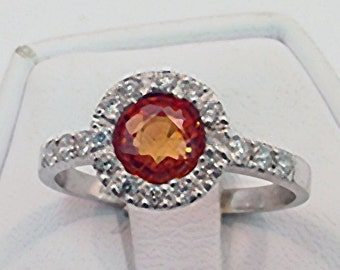 Natural Clean Orange Ceylon Sapphire 1.20 carats 5.98mm in 14K gold ring with .30 carats of diamonds 0419