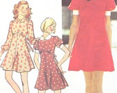 1970s Dress Pattern Simplicity 5903 Empire Waist Tie Back Flare Skirt Firt & Flare Dress Peter Pan Collar Vintage Sewing Pattern Bust 31 1/2