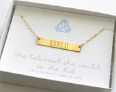 Bar Marathon Necklace Engraved Roman Numerals Runners Necklace Marathon Jewelry Runner's Gift She Believed Sentiment Card Half Marathon