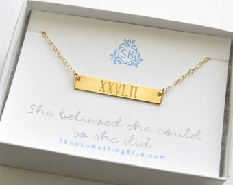 Gift For Runner • Engraved Bar Necklace • Marathon in Roman Numerals • Runner Necklace • Marathon Jewelry • Runner's Gift • She Believed