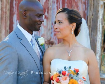 Wedding Jewelry Set CZ Cubic Zirconia Bridal Earrings and Necklcae, Wedding Earrings