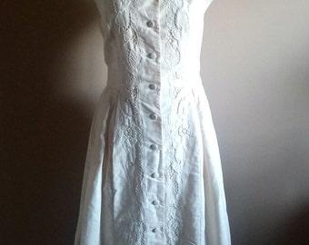 Cream Linen Embroidered Cut Out Summer Dress