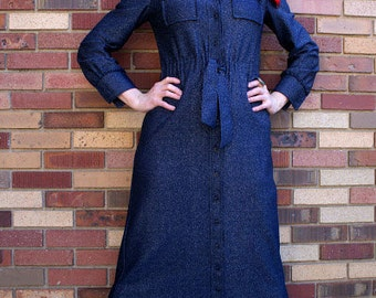 Navy Blue and Silver Metallic 1960s Mad Men Maxi Dress