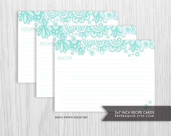 5x7 inch Recipe Cards Printable DIY - 2 Designs - Mint Turquoise  -  INSTANT DOWNLOAD - Item 154b