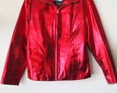 CHERRY BOMB // Vintage 90s Metallic Red Leather Jacket Maxima by Wilsons Shiny Bright 1990s Club Kid Rave Burning Man Unisex Small Medium