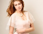SHEER wedding capelet, ivory netting bridal cape
