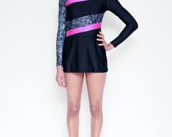 Vintage 80's Gymnast Black Nylon/Spandex Leotard // Figure / Roller Skater Long Sleeve Skirted Bodysuit UNITARD - S