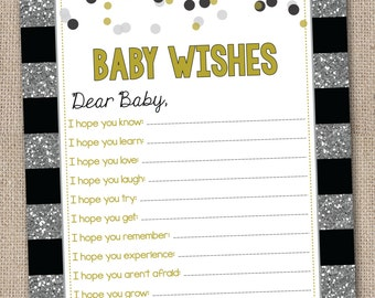 Printable Baby Wishes Card Silver Glitter Stripes with Black and Gold Instant Download Printable PDF