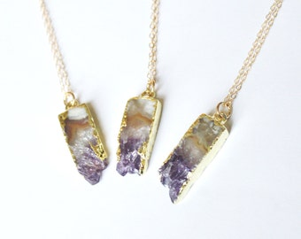 Petite Amethyst Necklace, Stone Necklace, Layering Necklace, Raw Crystal Necklace, Amethyst Jewelry, February Birthstone, Long Necklace