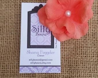Coral Hydrangea Hair Clip prom wedding toddler girl