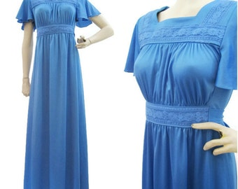 70s Dress Vintage Blue Flutter Sleeve Festival Hippie Maxi S M