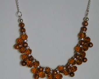 Dark Orange Freshwater Pearl and Crystal Bead work Necklace, Fall /Winter Statement Necklace, Special Occasion Rhinestone Necklace -TALULA