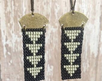 Beaded  Black & White Triangle Earrings
