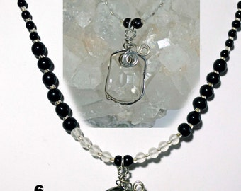 Camera Lens  wire wrapped  recycled glass lens necklace pendant black with frosted sea glass beads  jewelry art created in Michigan