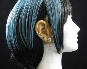 """Industrial Silver Aluminum Chain Hex Nut Earrings - """"Chained"""""""