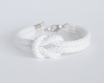 Matte white forever knot nautical rope bracelet // other colors available